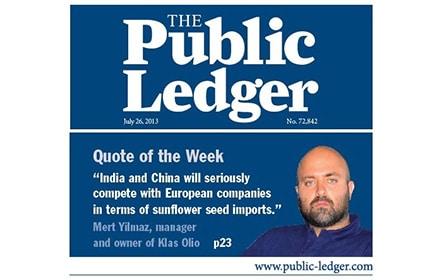 Водещото американско печатно издание The Public Ledger в най новия си брой отдели специално място за Клас Олио